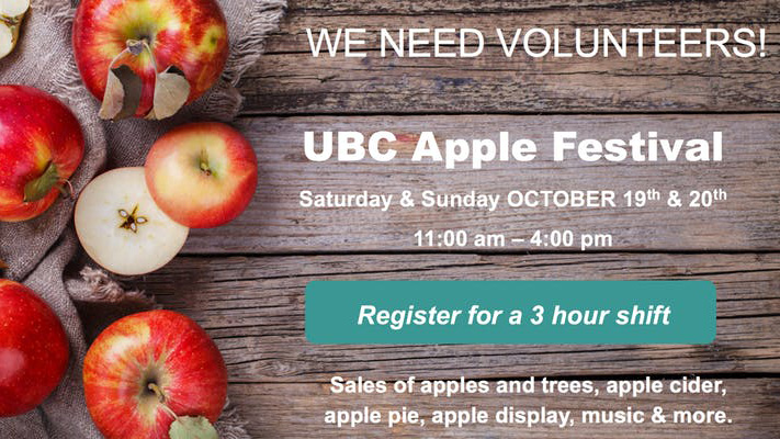 UBC Apple Festival Volunteer Sign up - click here to go to sign up website.