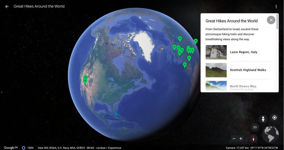 Google Earth of globe with pins of virtual hiking paths