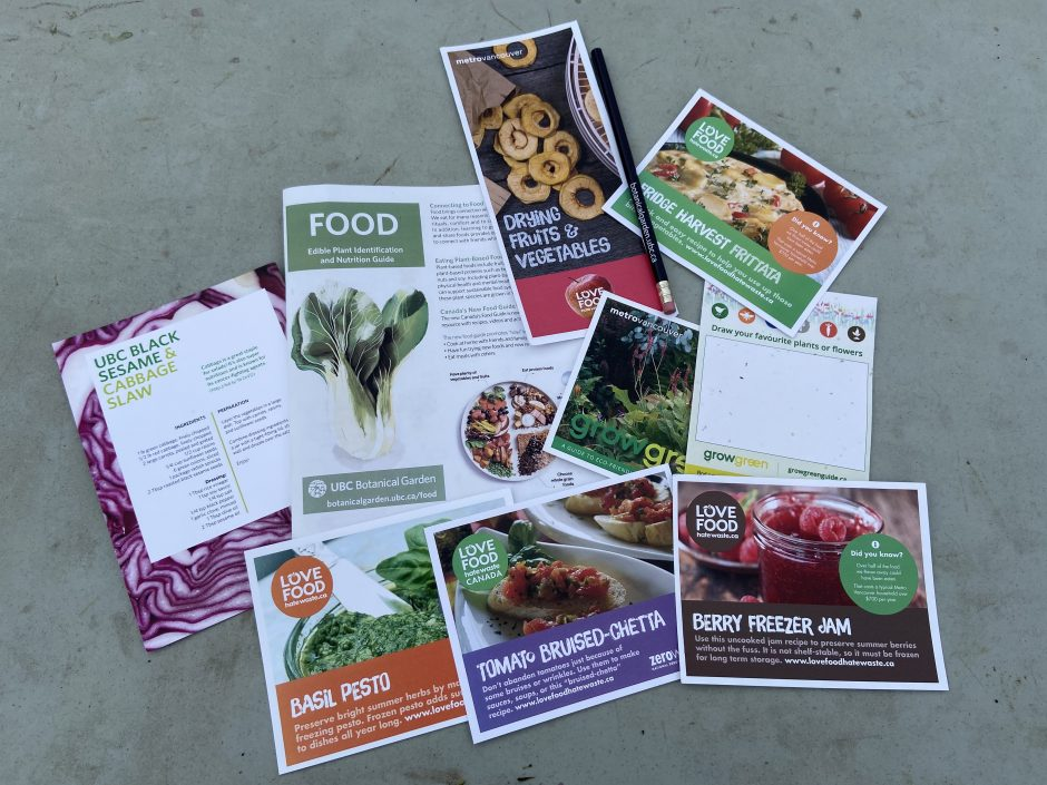 Food brochures clustered together on the ground