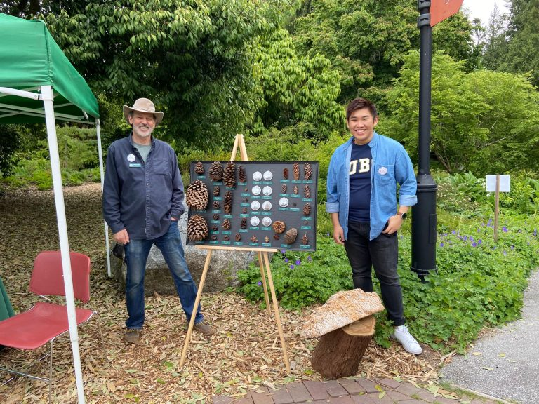 Alex Wong and Douglas Justice, Associate Director at the Garden, pose with educational display