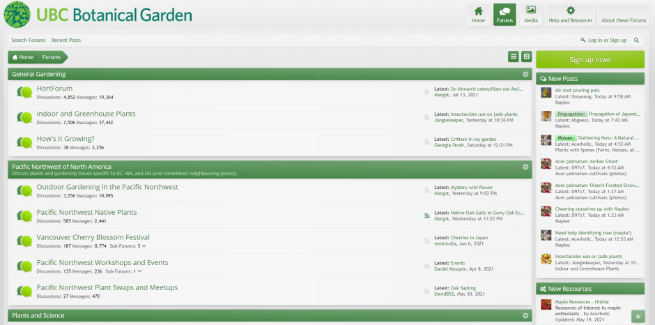 Screen capture of Garden Forums home page